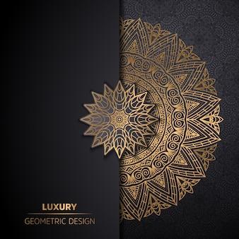 Роскошный орнамент мандалы дизайн фон в золотой цвет
