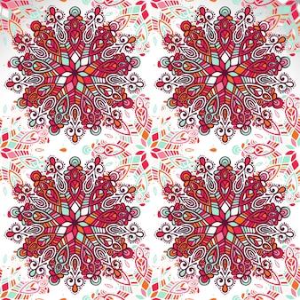 インドの花のペイズリーメダリオンのパターン