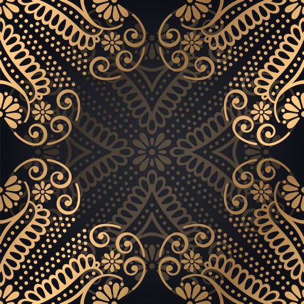 ゴールドカラーベクトルの高級観賞用マンダラデザインの背景