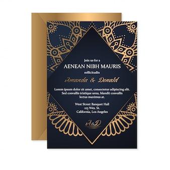 Золотая свадебная открытка