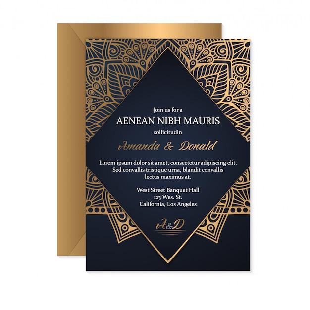 金の結婚式の招待状カードのテンプレート