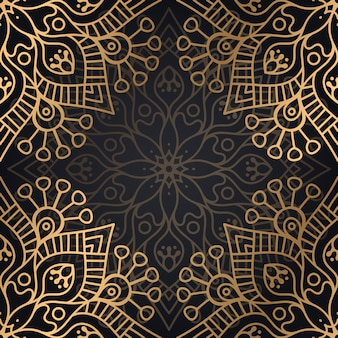 ゴールドの色ベクトルの高級観賞用マンダラデザインシームレスパターン