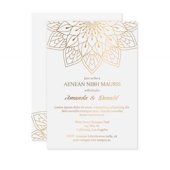 豪華な結婚式の招待カードのテンプレート