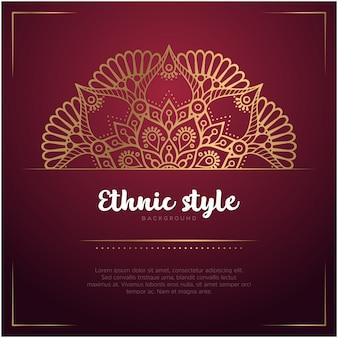 マンダラとテキストテンプレート、赤と金色のエスニックスタイルの背景