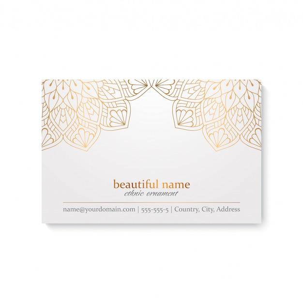 Роскошный шаблон визитной карточки с этническим стилем, белый и золотой цвет