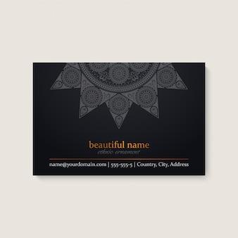 Шаблон визитной карточки с этническим дизайном мандалы