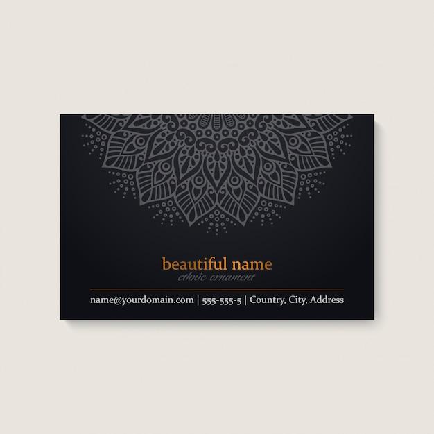 民族のマンダラデザインの名刺テンプレート
