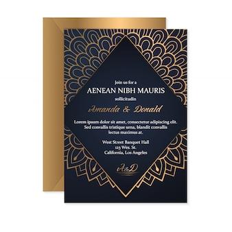 エスニックスタイル、オリエンタルデザインの結婚式の招待カードテンプレート