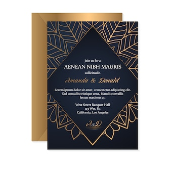 Шаблон свадебного приглашения с этническим стилем, восточным дизайном
