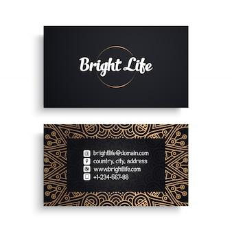 Корпоративный шаблон визитной карточки с этническим дизайном класса люкс