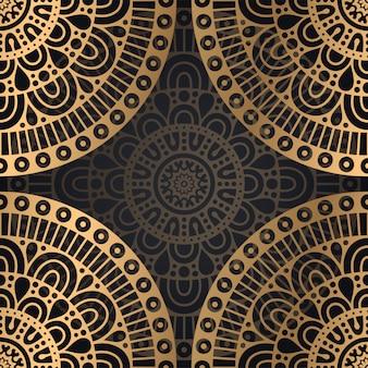 黒と金色のマンダラのシームレスなパターン背景デザイン