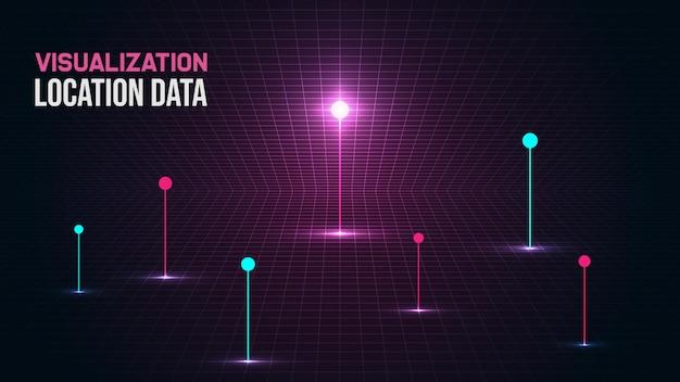 Визуализация положения данных с ярким светом.