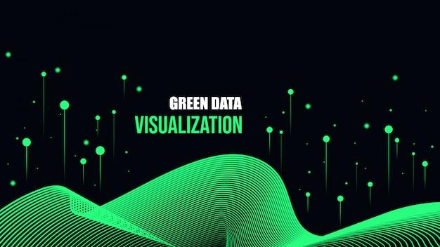 緑のサイバーデータの可視化の背景。