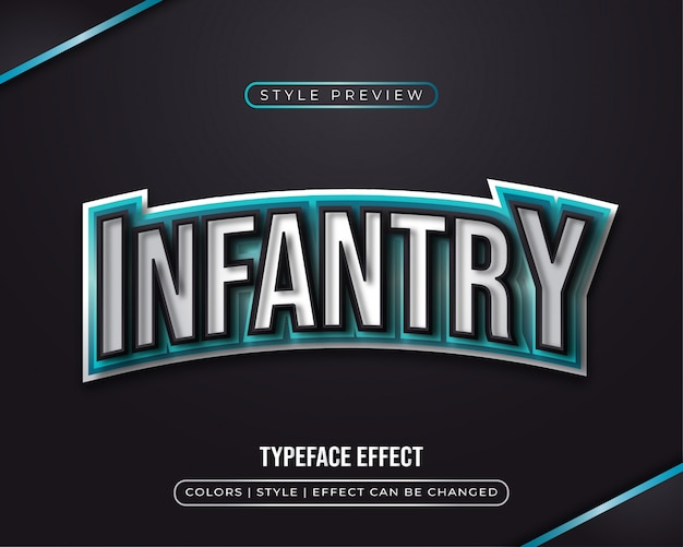 Синий игровой текстовый эффект