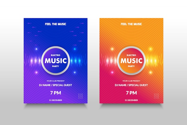 カラフルなグラデーション、スペクトル光、真ん中に現実的なサークルと輝く音楽ポスター。