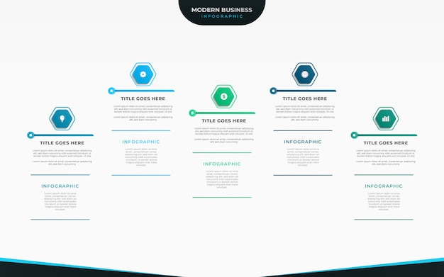 プレゼンテーションまたはワークフローレイアウトのビジネス可視化インフォグラフィックデザイン