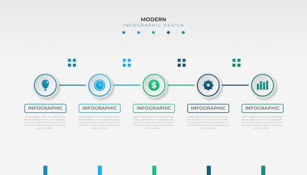ビジネスプレゼンテーション、ワークフローレイアウトまたはフローチャートのモダンなインフォグラフィックテンプレートデザイン
