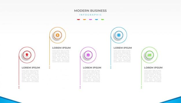 Визуализация бизнес инфографики дизайн с реалистичным стилем для презентации или макета рабочего процесса