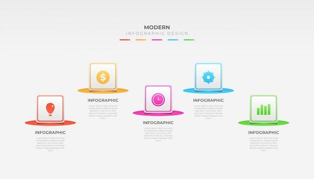 Красочный дизайн шаблона инфографики для презентации или макета рабочего процесса