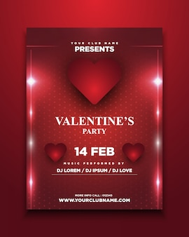 輝くバレンタインの招待カード