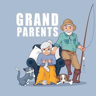 祖父母はペットと一緒に座っています。幸せな祖父母の日。祖母は肘掛け椅子に座っていると靴下を編みます。