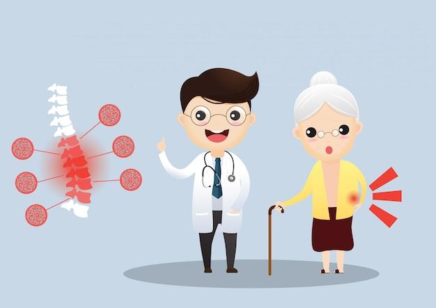 高齢者の世話をしています。医者は彼女の症状について高齢患者と話しています。骨粗鬆症の老婦人