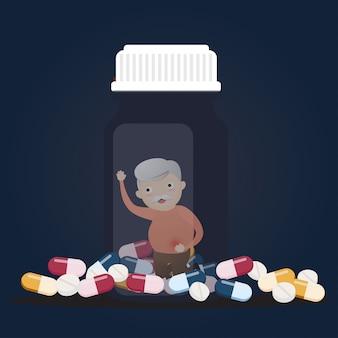 Старший с бутылками таблеток.