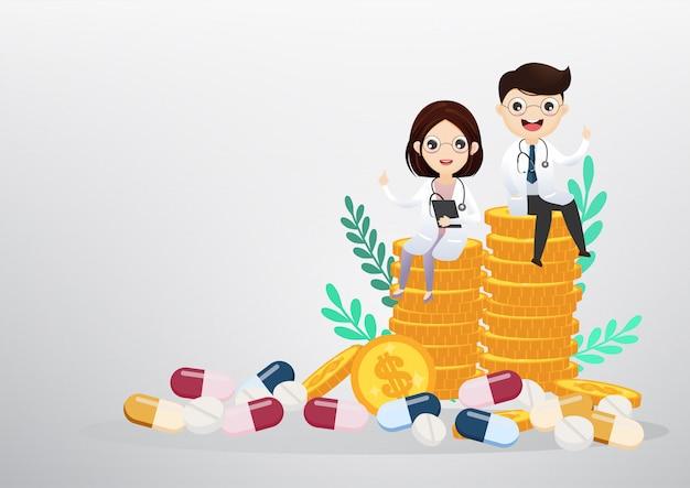 コイン、ビジネスおよびヘルスケアの概念の上に座って医師。ベクトル、イラスト