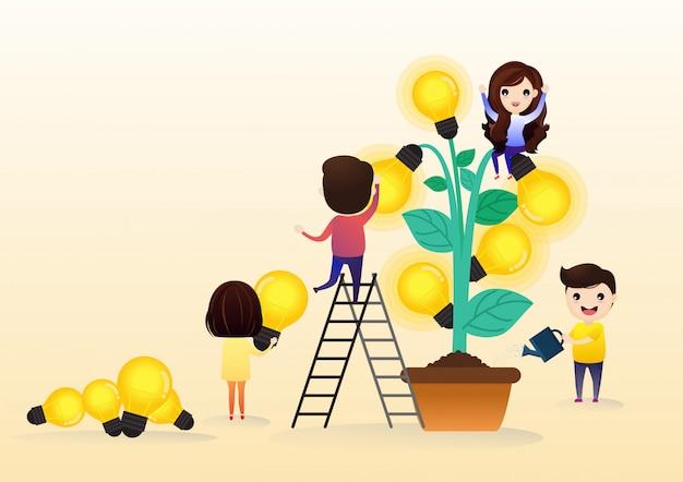 ビジネスマンの漫画のキャラクターとツリーの電球のシンボルと成長企業の概念