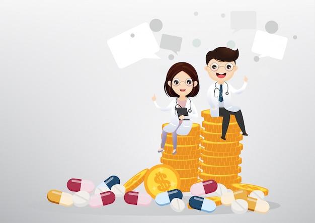 コイン、ビジネス、ヘルスケアの概念の上に座って医師