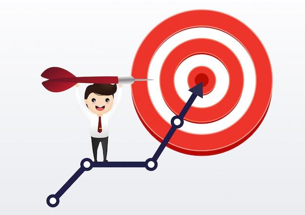 ビジネスマンは、ターゲットに矢印グラフを発生させます。