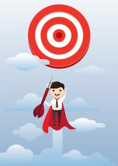 ビジネスマンのスーパーヒーローが飛んで、ターゲットアーチェリーを成功させる。