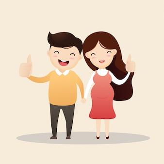 幸せな男と妊娠中の女性。