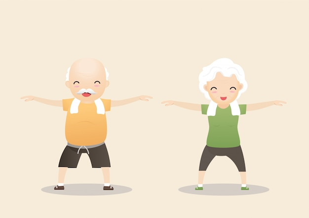概念を行使する高齢者。