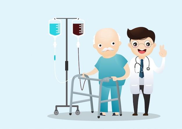 杖で歩く老人。医療医師。