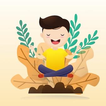 若い男が電球で瞑想を座っています。創造的思考のコンセプト