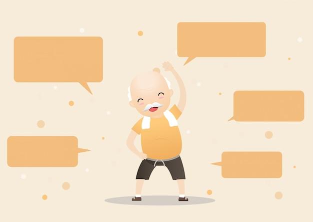 Пожилые люди делают упражнения с пузыри речи.