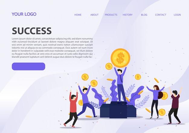 幸せなビジネスチームは、金雨紙幣現金青い背景、ランディングページに落ちるの下に立って成功を祝う