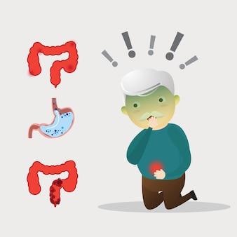 腹痛を持つ老人。腹痛に苦しんでいる老人。胃の痛みを伴う健康状態。年配の男性が彼のおなかに触れて痛みを感じます。