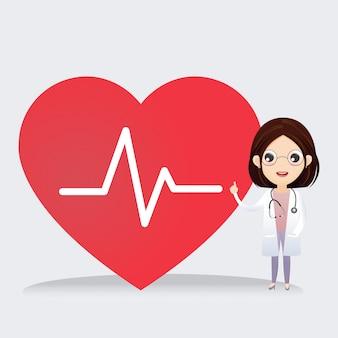 医者はハートビートのサインと一緒に立っています。健康の概念