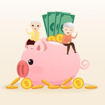 Концепция выхода на пенсию. старик и женщина с золотой копилкой. проведение пенсионных накоплений розовый поросенок. экономия денег на будущее. вектор, иллюстрация.