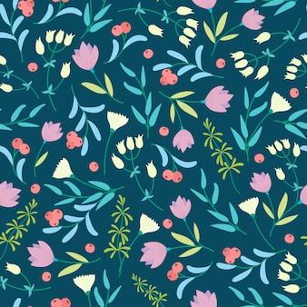 暗い背景に小さな色とりどりの花でパターン。