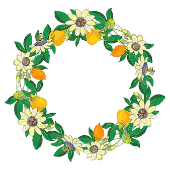 パッションフラワー、トケイソウ、オレンジ、黄色の果物と花輪。花のフレーム