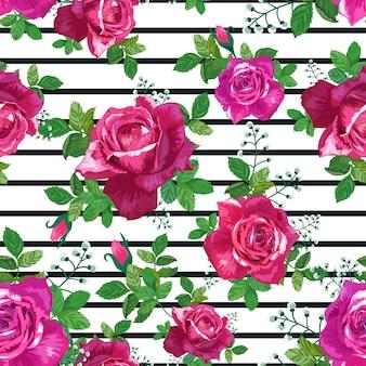 ピンク、赤、黄色のバラと美しいシームレスパターン