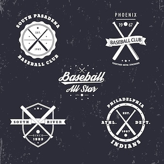 Бейсбольные винтажные эмблемы, значки, логотипы со скрещенными бейсбольными битами