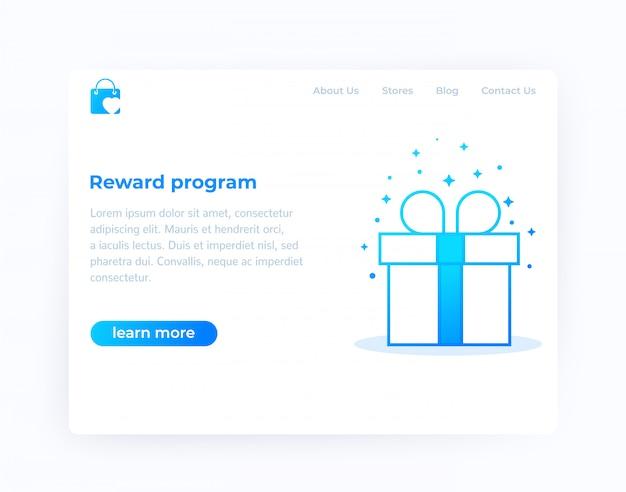 Программа вознаграждений, дизайн сайта, векторный шаблон