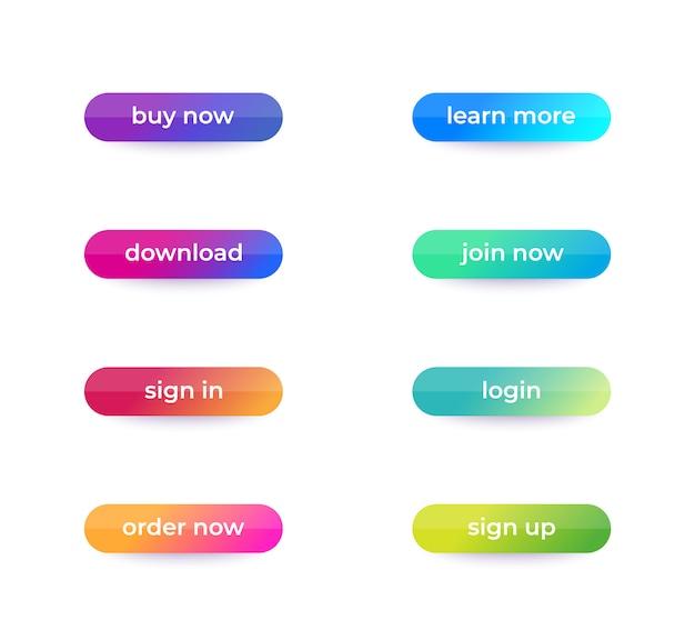 Кнопки для веб и приложений, элементы пользовательского интерфейса, набор
