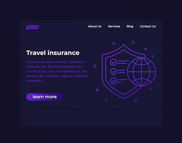 旅行保険、ウェブサイトのデザイン、テンプレート
