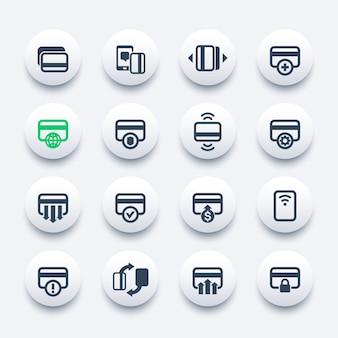Набор иконок кредитных карт для приложений мобильного банкинга, бесконтактный платеж, добавление новой карты, обработка