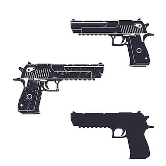 強力なピストル、銃のシルエット、ピストルの図、拳銃、